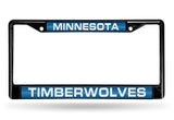 NBA Minnesota Timberwolves Black Laser Cut Chrome License Plate Frame