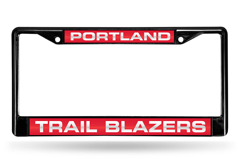 NBA Portland Trail Blazers Black Laser Cut Chrome License Plate Frame