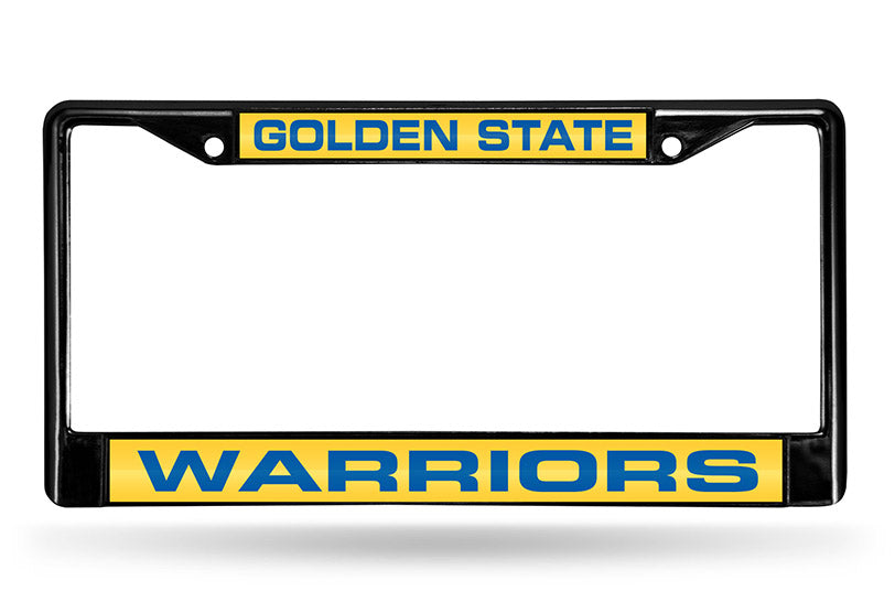 NBA Golden State Warriors Black Laser Cut Chrome License Plate Frame