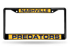NHL Nashville Predators Black Laser Cut Chrome License Plate Frame
