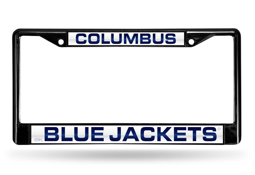 NHL Columbus Blue Jackets Black Laser Cut Chrome License Plate Frame