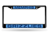 NBA Memphis Grizzlies Black Laser Cut Chrome License Plate Frame