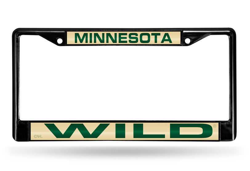 NHL Minnesota Wild Black Laser Cut Chrome License Plate Frame