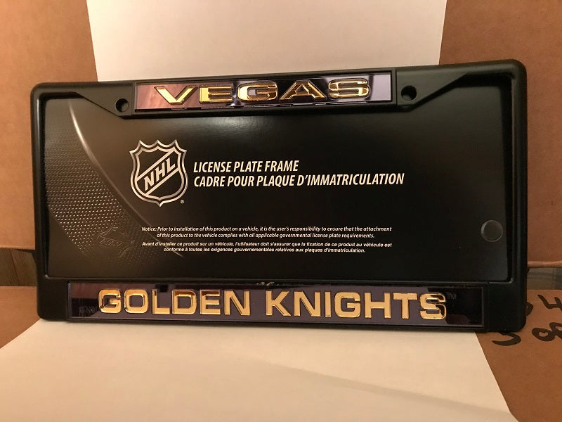 NHL Vegas Golden Knights Black Laser Cut Chrome License Plate Frame
