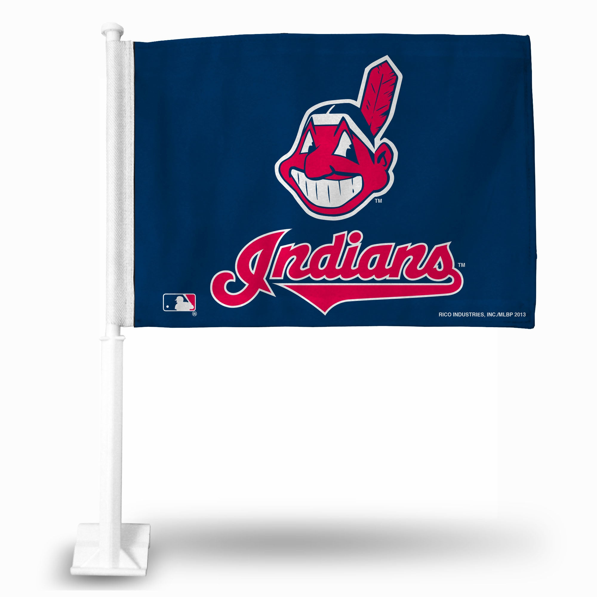 MLB Cleveland Indians Logo Car Flag - Hockey Cards Plus LLC