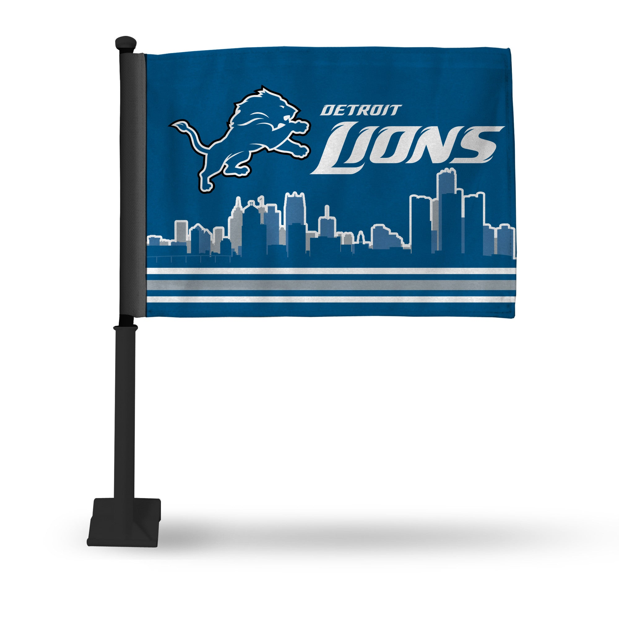 NFL Detroit Lions Skyline Car Flag - Black Pole