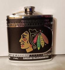 NHL Chicago Blackhawks 6 oz Hip Flask with Hi-Def Metallic Wrap