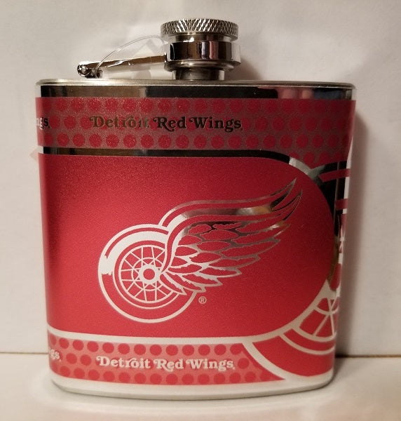 NHL Detroit Red Wings 6oz  Hip Flask with 360 Hi-Def Metallic Wrap