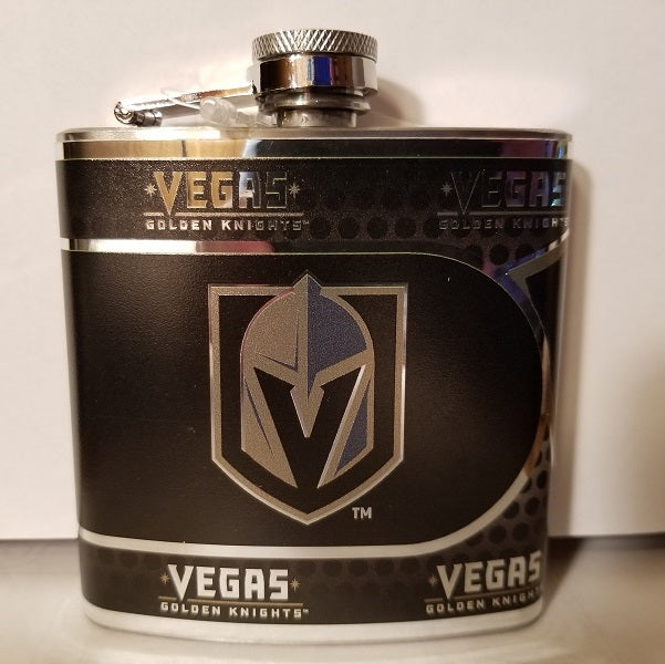 NHL Vegas Golden Knights 6oz Hip Flask with 360 Hi-Def Metallic Wrap