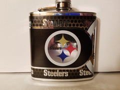NFL Pittsburgh Steelers 6oz Hip Flask with Hi-Def Metallic Wrap