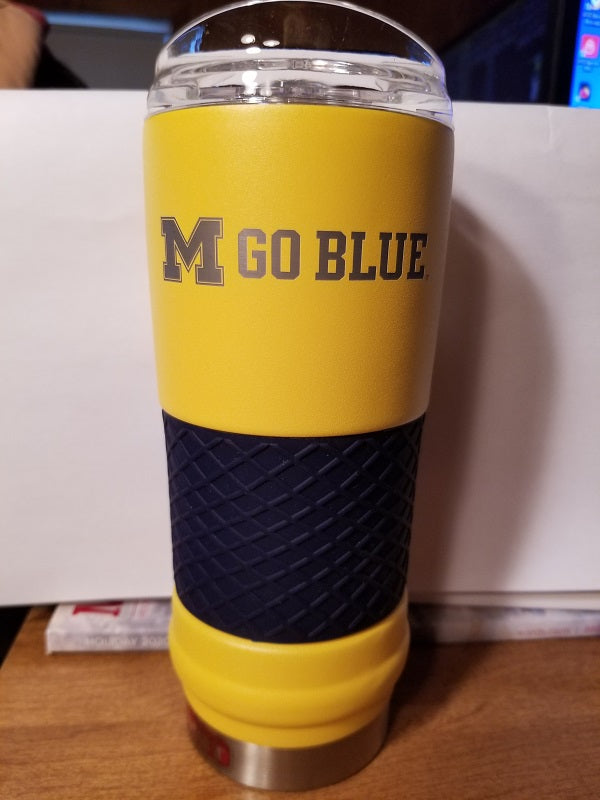 "NEW!! NCAA Michigan Wolverines 18oz ""Draft"" Insulated Tumbler - Rally Cry"