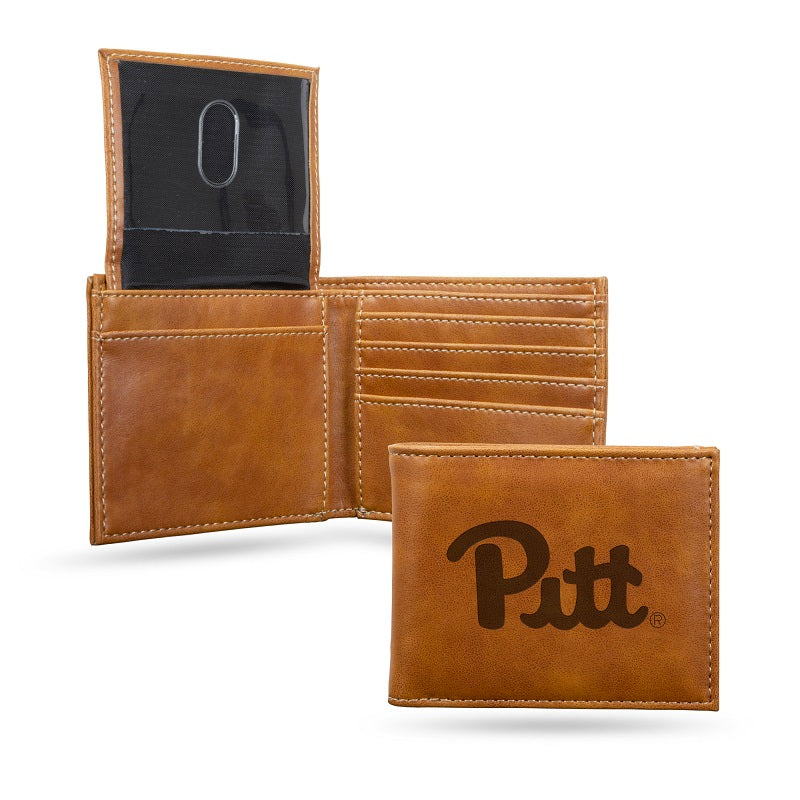 NCAA Pitt Panthers Laser Engraved Billfold Wallet - Brown