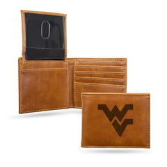 NCAA West Virginia Mountaineers Laser Engraved Billfold Wallet - Brown