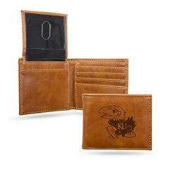 NCAA Kansas Jayhawks Laser Engraved Billfold Wallet - Brown