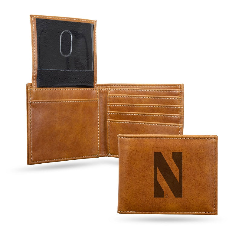 NCAA Northwestern Wildcats Laser Engraved Billfold Wallet - Brown