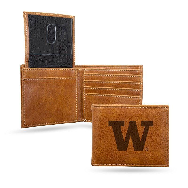 NCAA Washington Huskies Laser Engraved Billfold Wallet - Brown
