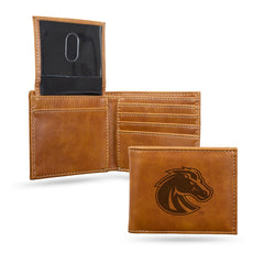 NCAA Boise State Broncos Laser Engraved Billfold Wallet - Brown