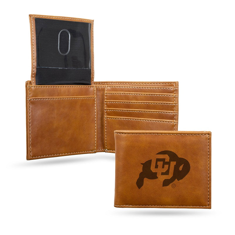 NCAA Colorado Buffaloes Laser Engraved Billfold Wallet - Brown