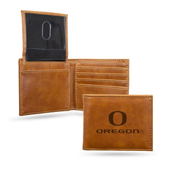 NCAA Oregon Ducks Laser Engraved Billfold Wallet - Brown