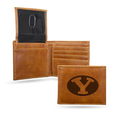 NCAA BYU Cougars Laser Engraved Billfold Wallet - Brown