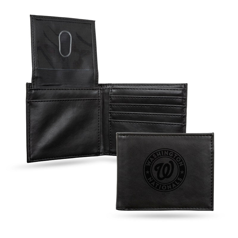 MLB Washington Nationals Laser Engraved Billfold Wallet - Black