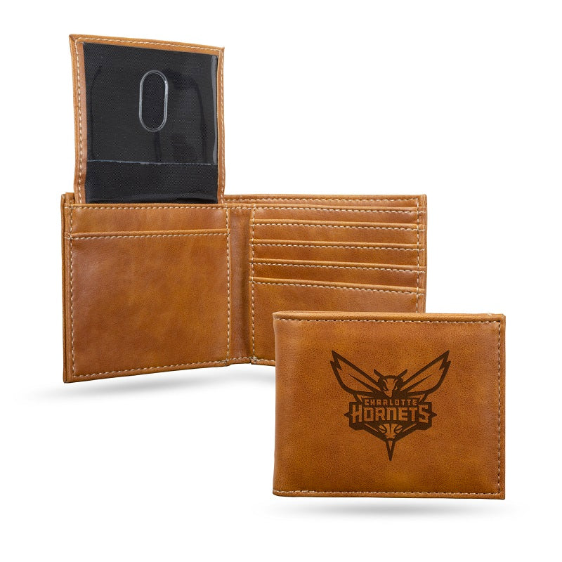 NBA Charlotte Hornets Laser Engraved Billfold Wallet - Brown
