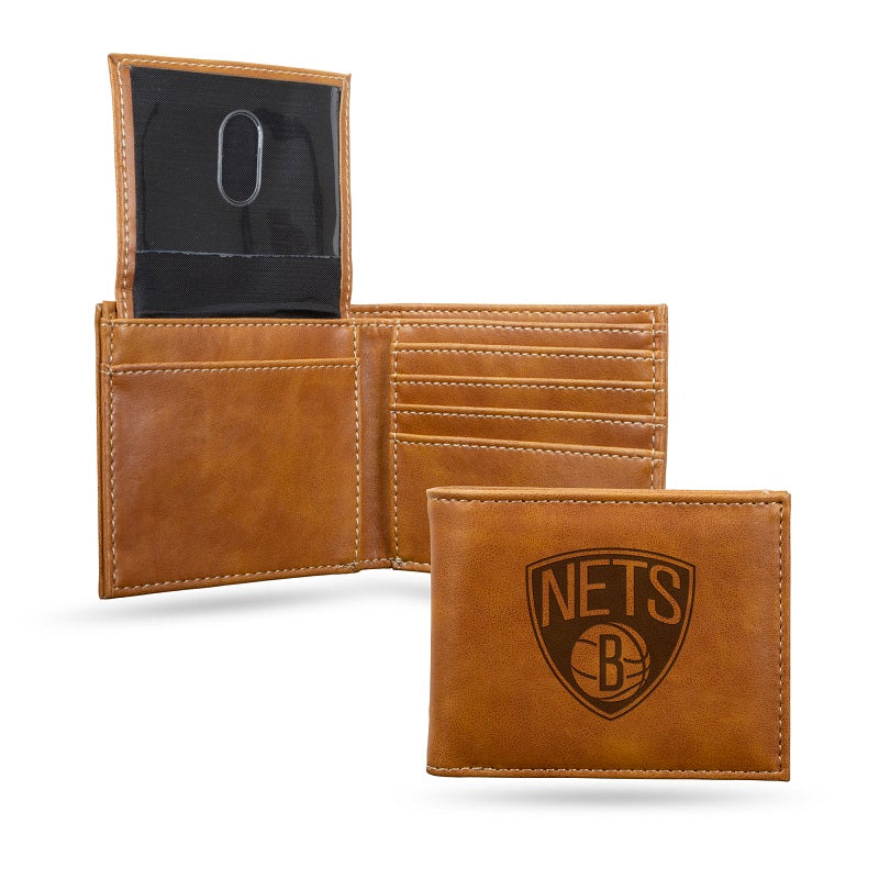 NBA Brooklyn Nets Laser Engraved Billfold Wallet - Brown