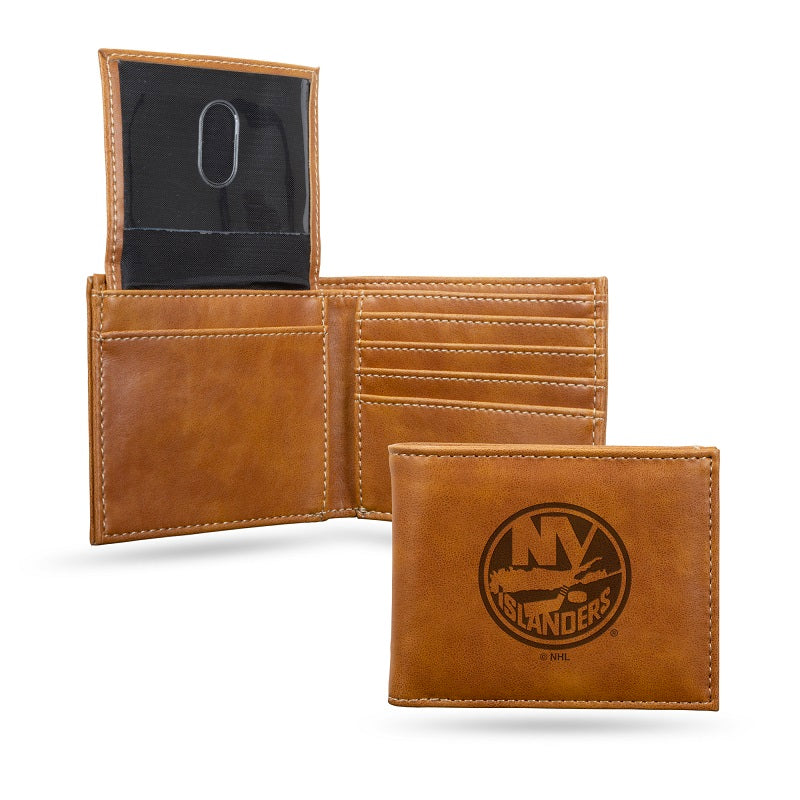 NHL New York Islanders Laser Engraved Billfold Wallet - Brown