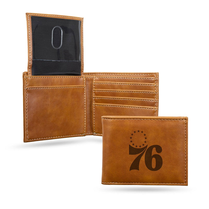 NBA Philadelphia 76ers Laser Engraved Billfold Wallet - Brown