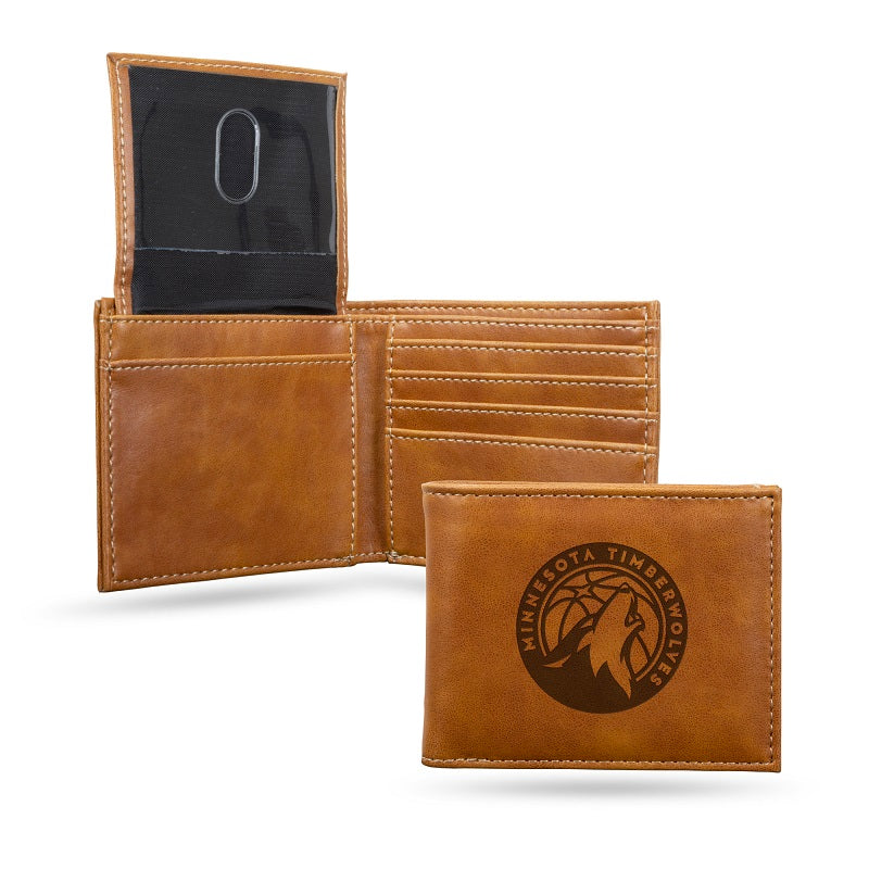 NBA Minnesota Timberwolves Laser Engraved Billfold Wallet - Brown