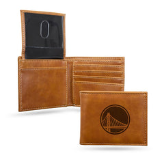 NBA Golden State Warriors Laser Engraved Billfold Wallet - Brown