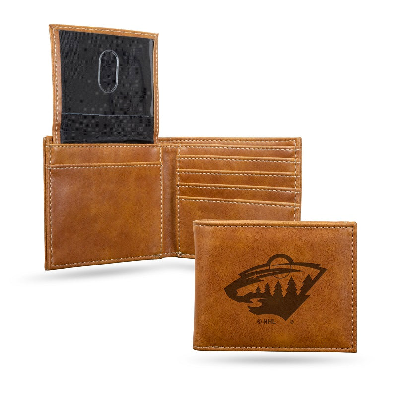 NHL Minnesota Wild Laser Engraved Billfold Wallet - Brown