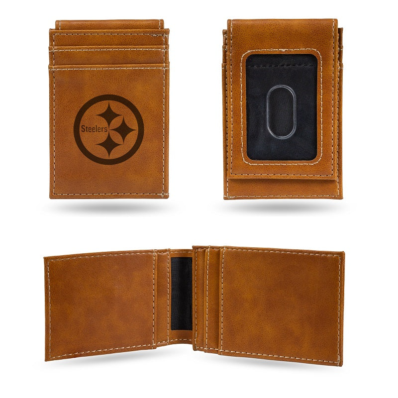 NFL Pittsburgh Steelers Laser Engraved Front Pocket Wallet - Brown