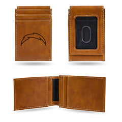 NFL Los Angeles Chargers Laser Engraved Front Pocket Wallet - Brown