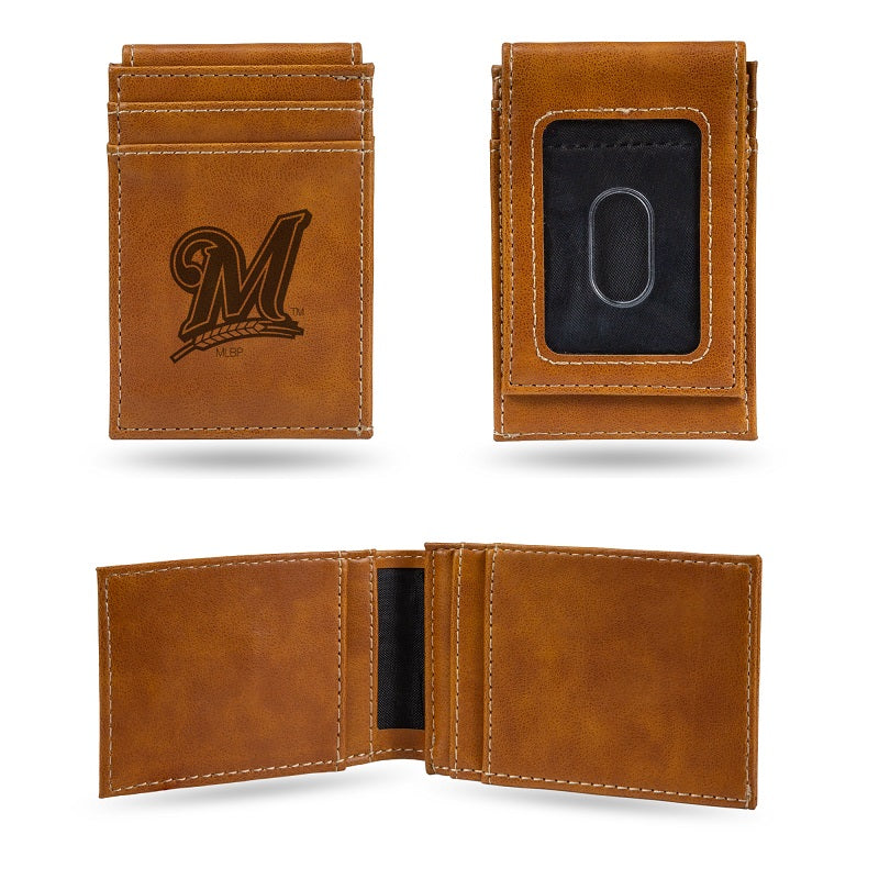 MLB Milwaukee Brewers Laser Engraved Front Pocket Wallet - Brown