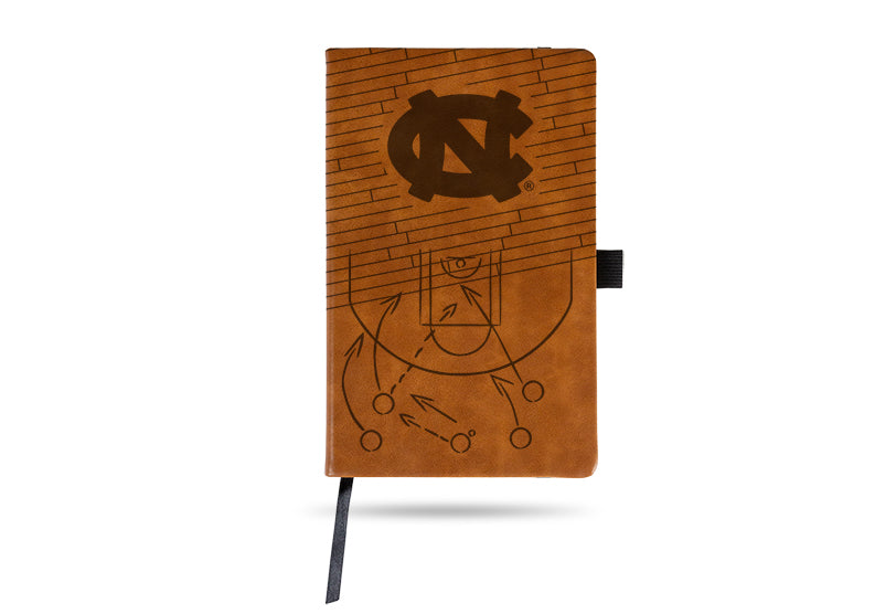 NCAA North Carolina Tar Heels Laser Engraved Leather Notebook - Brown