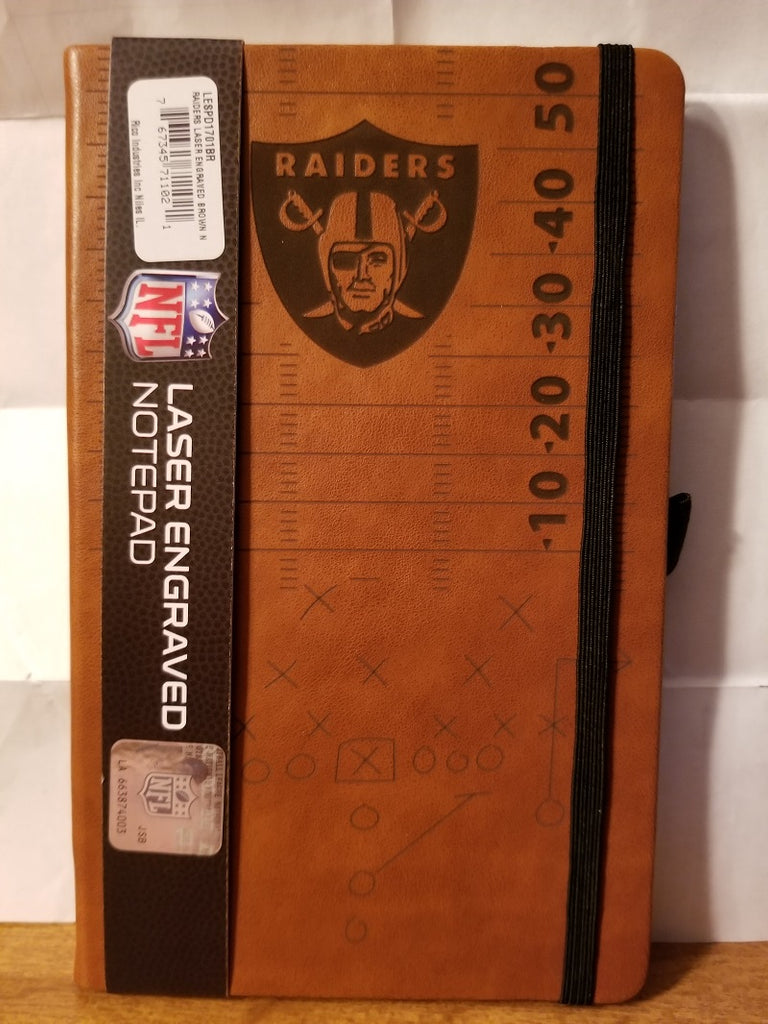 NFL Oakland Raiders Laser Engraved Leather Notebook - Brown