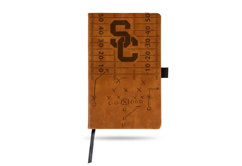 NCAA USC Trojans Laser Engraved Leather Notebook - Brown