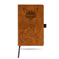 NBA Charlotte Hornets Laser Engraved Leather Notebook - Brown