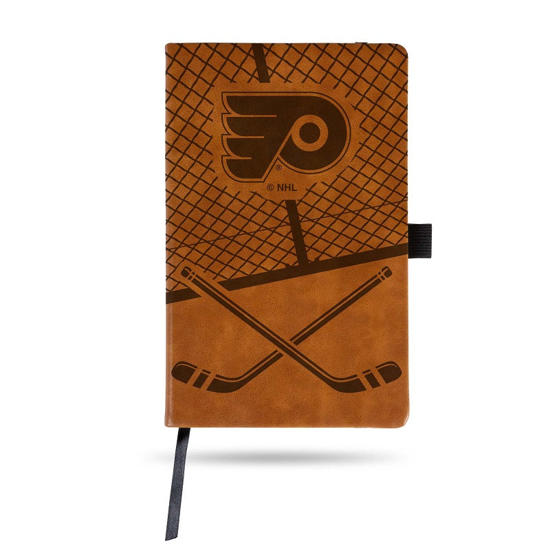 NHL Philadelphia Flyers Laser Engraved Leather Notebook - Brown