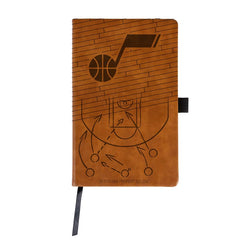 NBA Utah Jazz Laser Engraved Leather Notebook - Brown