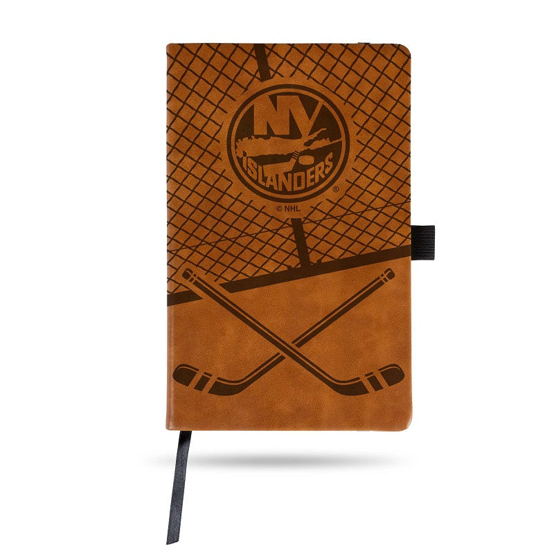 NHL New York Islanders Laser Engraved Leather Notebook - Brown
