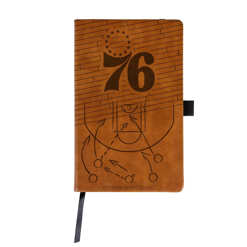 NBA Philadelphia 76ers Laser Engraved Leather Notebook - Brown