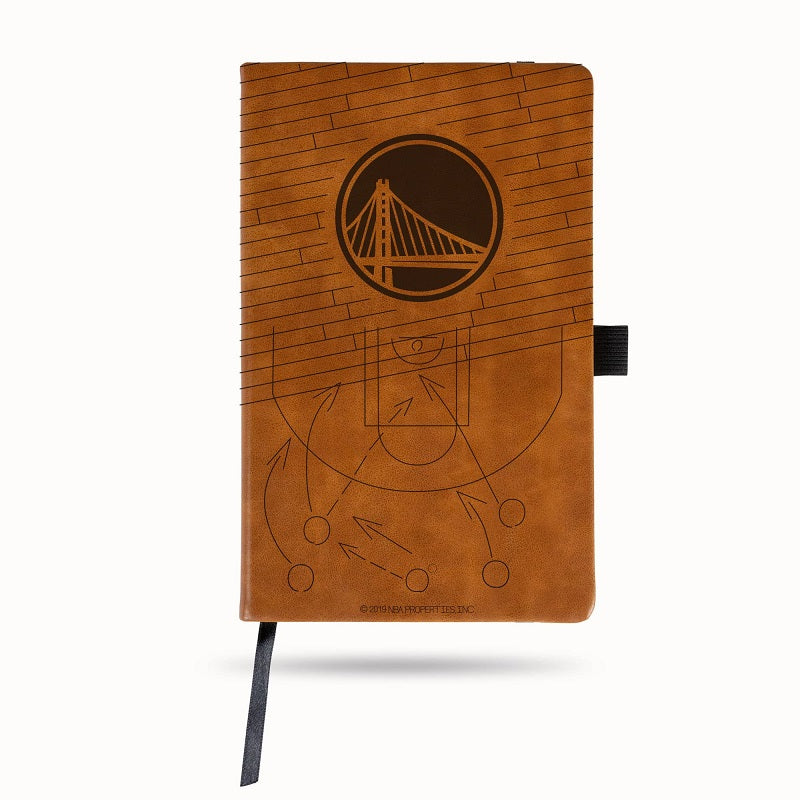 NBA Golden State Warriors Laser Engraved Leather Notebook - Brown