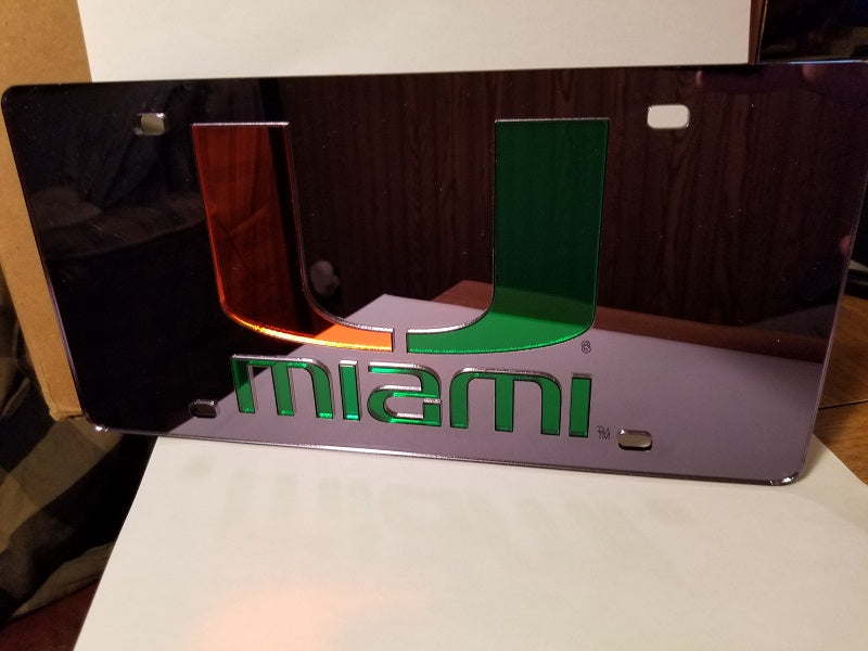 NCAA Miami Hurricanes Laser License Plate Tag - Black