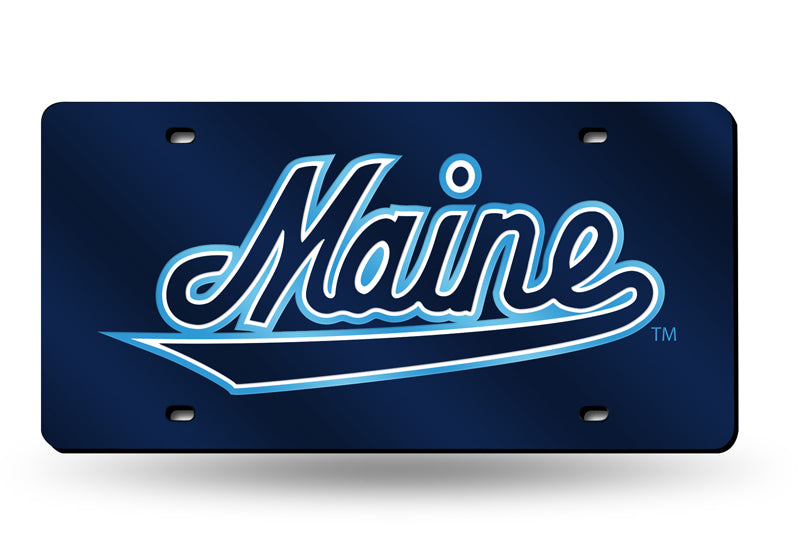 NCAA Maine Black Bears Laser License Plate Tag - Blue
