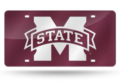 NCAA Mississippi State Bulldogs Laser License Plate Tag - Dark Red