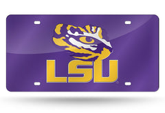 NCAA LSU Tigers Laser License Plate Tag - Purple