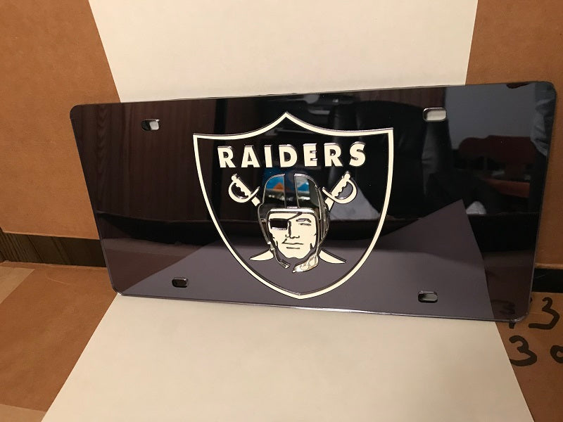 NFL Oakland Raiders Laser License Plate Tag - Black