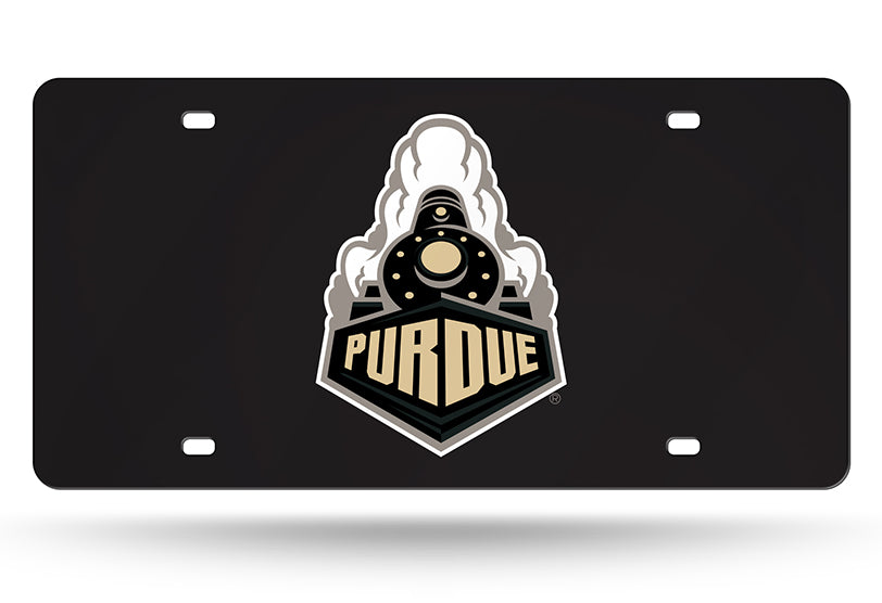 "NCAA Purdue Boilermakers ""Train"" Laser License Plate Tag - Black"
